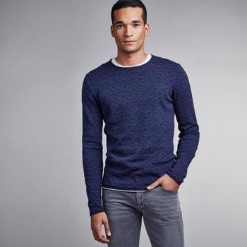 Pullover navy met print