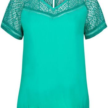 Top Lace Contrast S/S tramontana