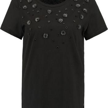 Zwart t-shirt met bloemenversiering garcia