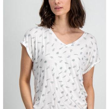 Wit t-shirt met verenprint garcia
