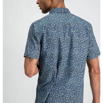 Donkerblauw overhemd met allover print garcia