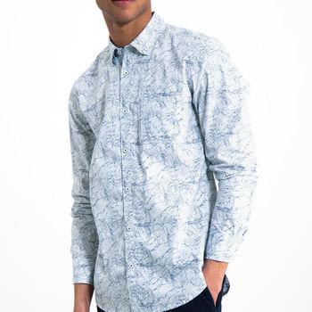 Wit overhemd met allover print G91025