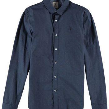 Blauw overhemd met allover print G91026