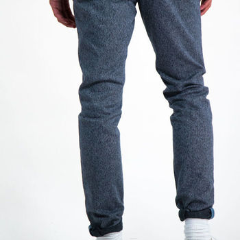 Blauw gemêleerde broek G91110
