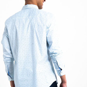 Wit overhemd met allover print G91026
