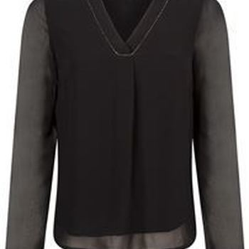 Top V-neck L/S Bead Details Black