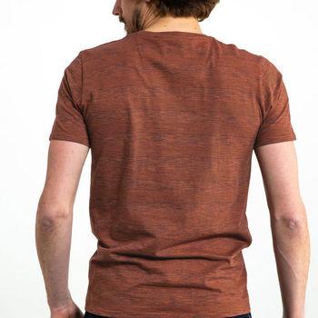 Rood bruin T-shirt met borstzakje, storm orange