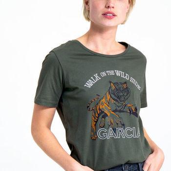 Groene T-shirt met opdruk tijger